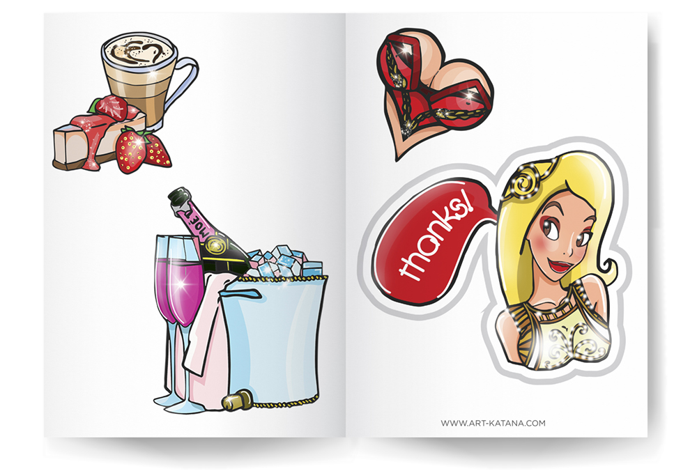 Create sticker pack, order stickers, best stickers, freelance illustrator, Kateryna fedorova, art katana