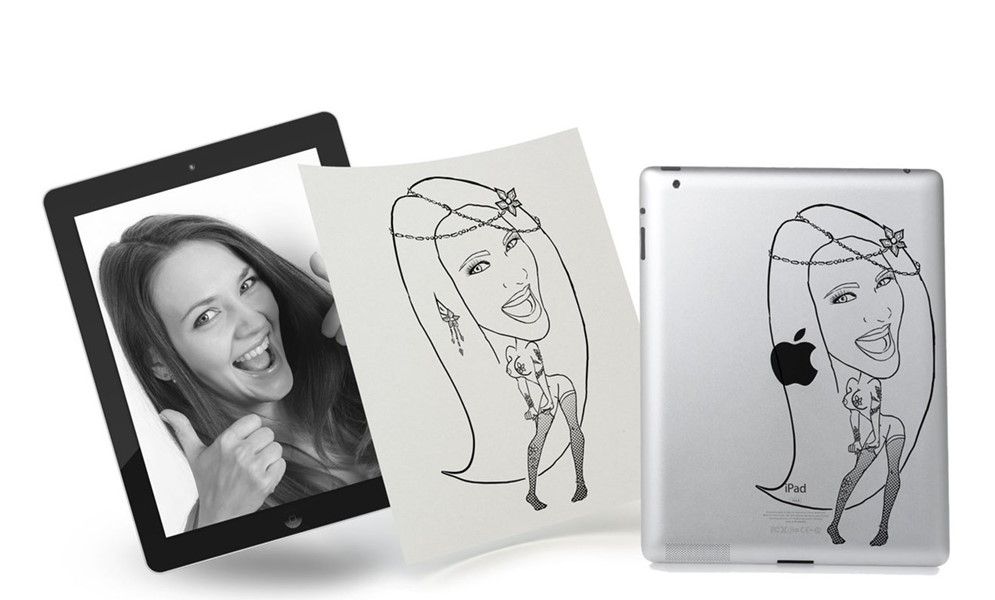 Laser iPad engraving presents - best creative gift,Order illustrations, freelance illustrator, Kateryna fedorova, art katana