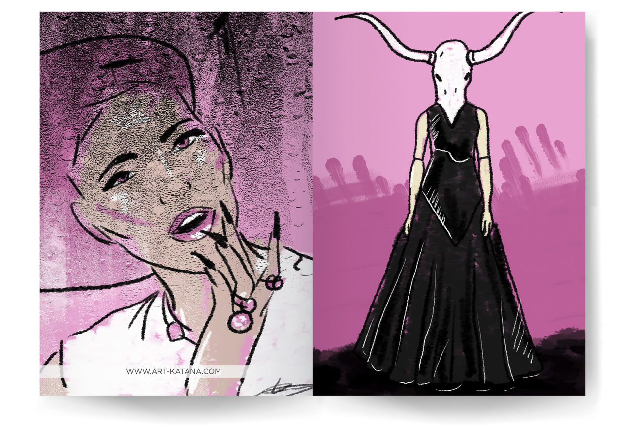 pink sketches, best illustrator, freelance illustrator, order illustrations online, Kateryna fedorova, art katana